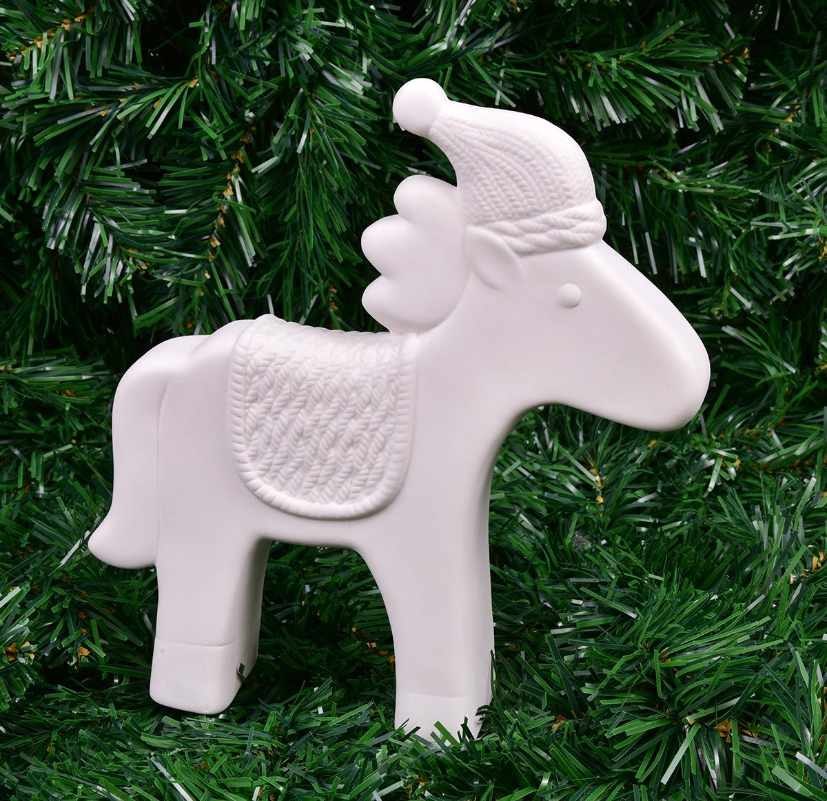 Dekorace koník 22 cm sněhobílý porcelán