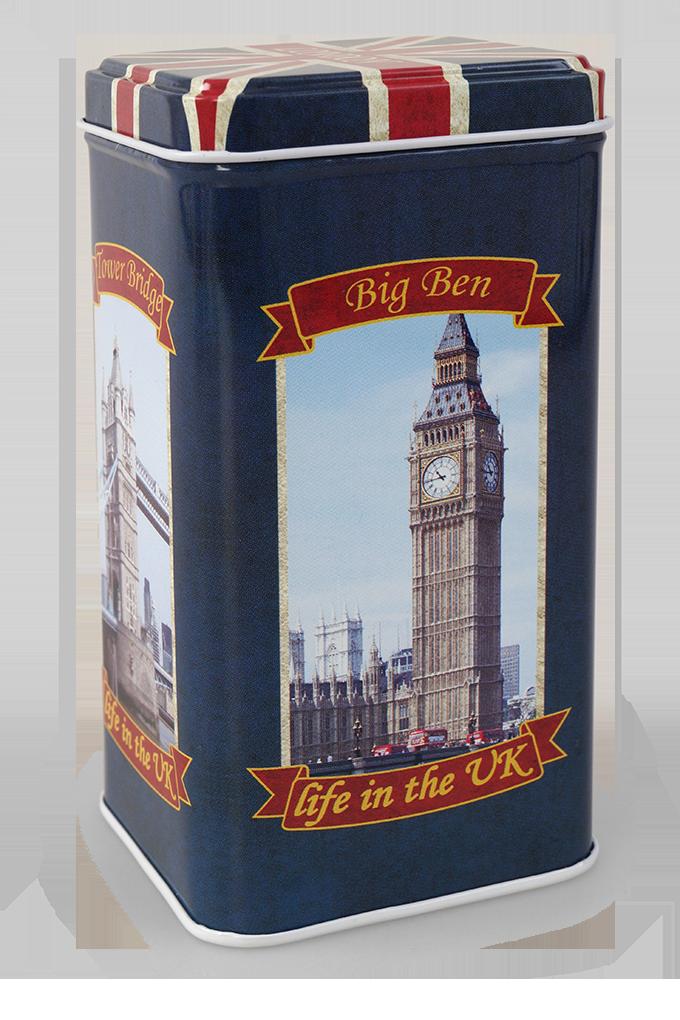 Vysoká kovová dóza s víkem Life in the UK