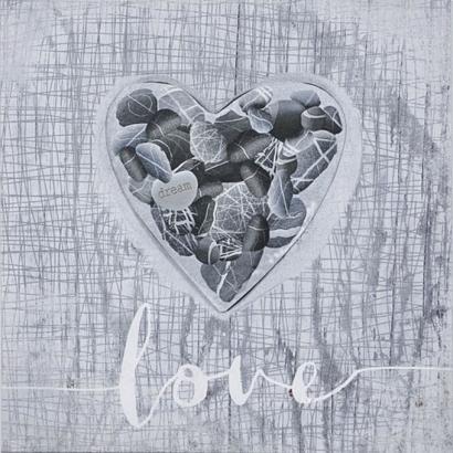 Obraz 3D, srdce šedé