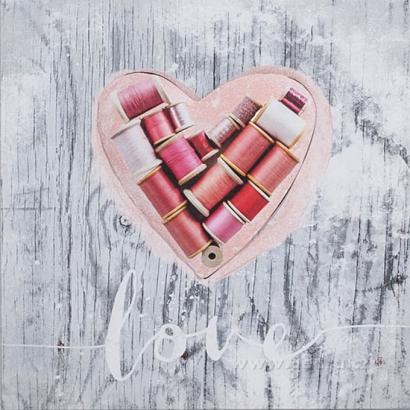 OBRAZ na plátne 28x28 cm - S motívom 3D srdca