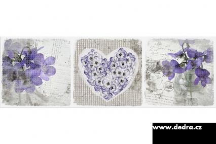 3D obraz na plátně 90 x 30 cm s motivem 3D srdce