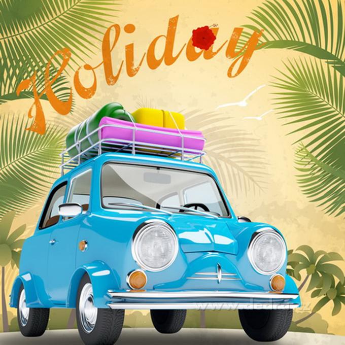 OBRAZ na plátne 28x28 cm - Retro Holiday modré auto