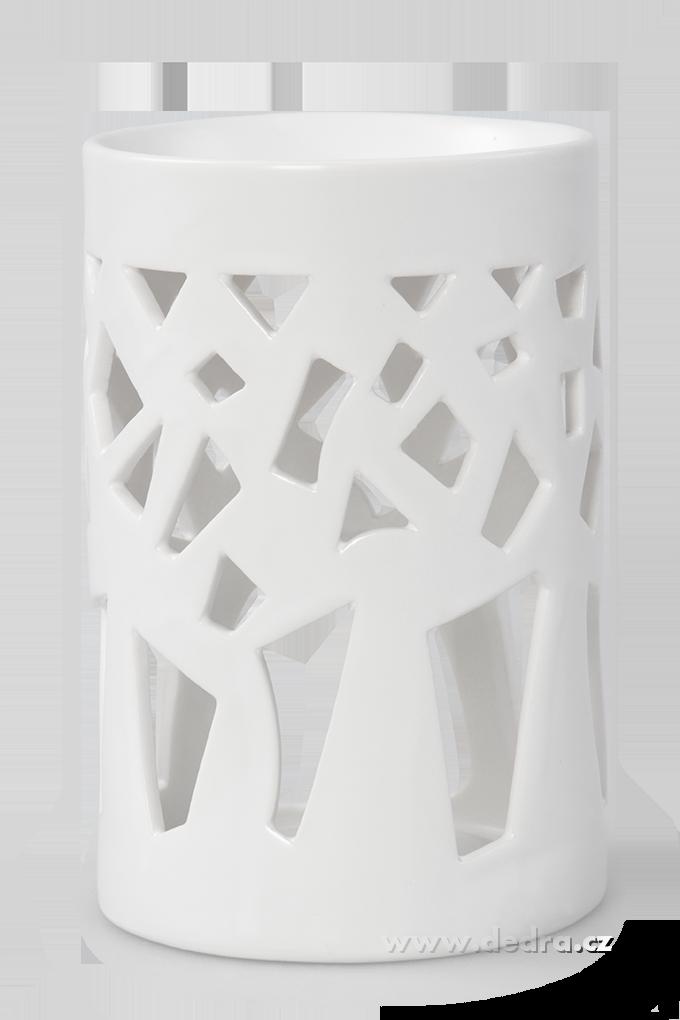 Keramická aromalampa na čajovou svíčku geometr.dekor bílá