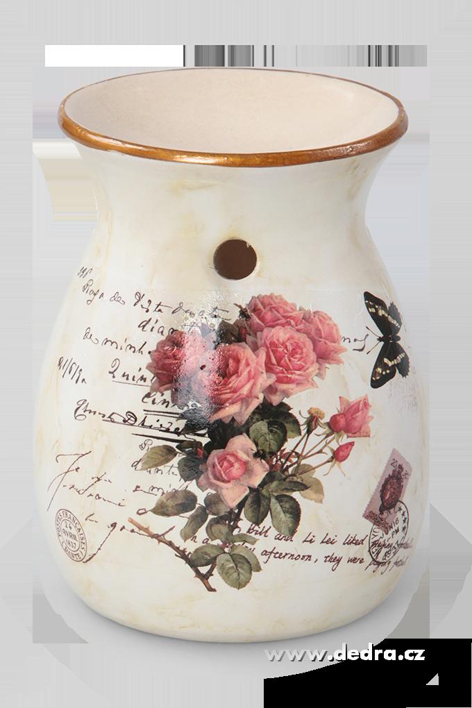 Keramická aromalampa s dobovou patinou  růže