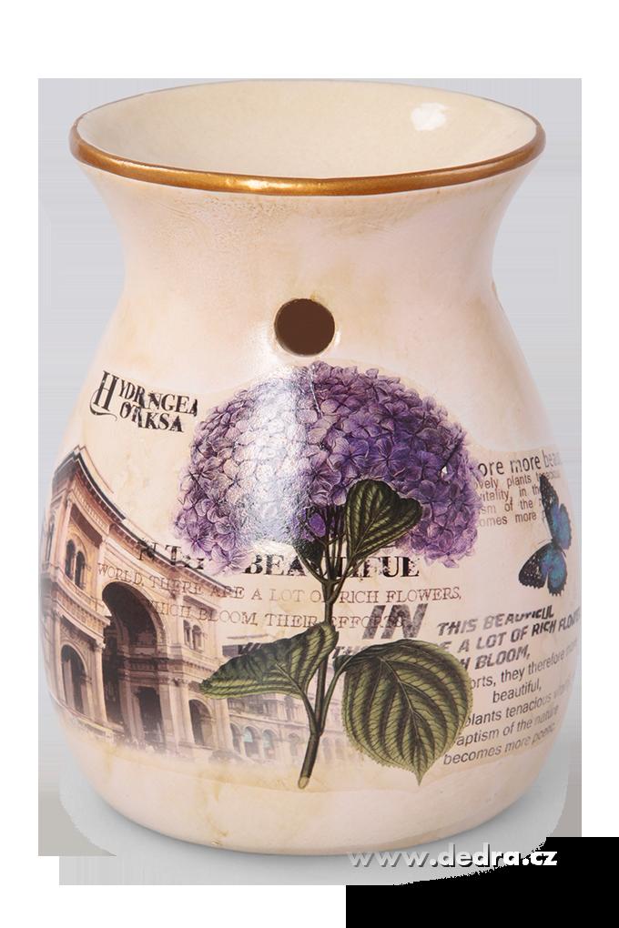 Keramická aromalampa s dobovou patinou hortenzie