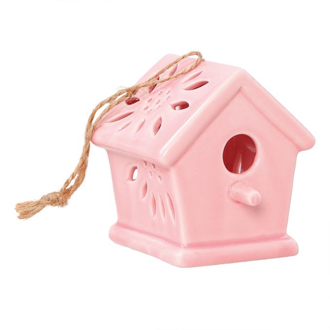 Ptačí budka keramická, dekorativní růžová lesklá