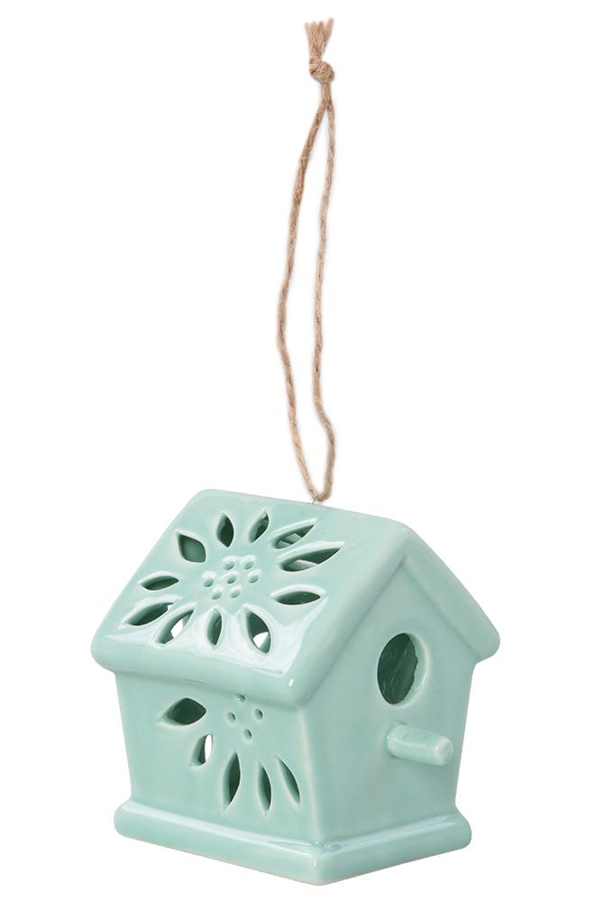 Ptačí budka keramická, dekorativní mintová lesklá