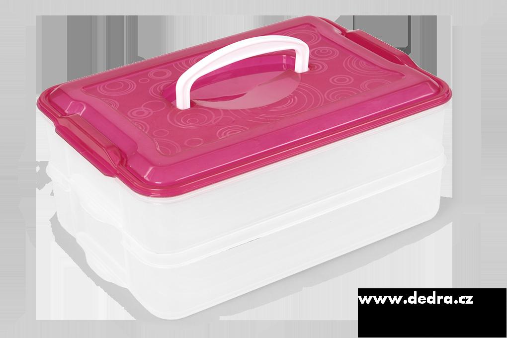 Buchtonoš 2x 3500 ml box na potraviny růžový
