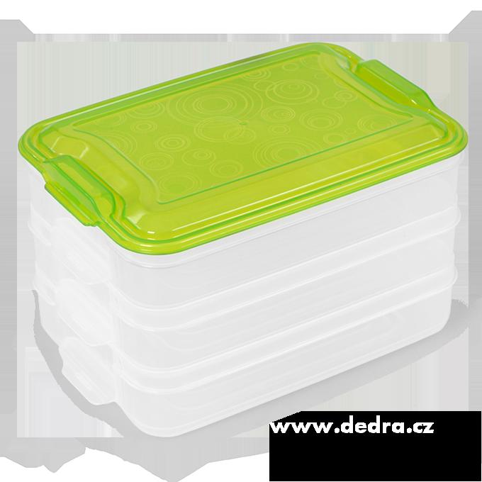 Trojobal 3x 800 ml box na potraviny zelený