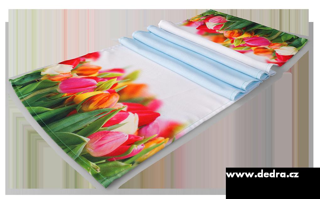 Květinový běhoun, na stůl tulipány