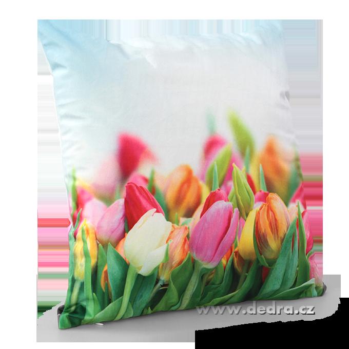 Květinový potah na polštář tulipány sametový povrch