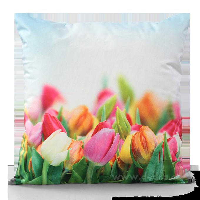 Květinový potah, na polštář tulipány