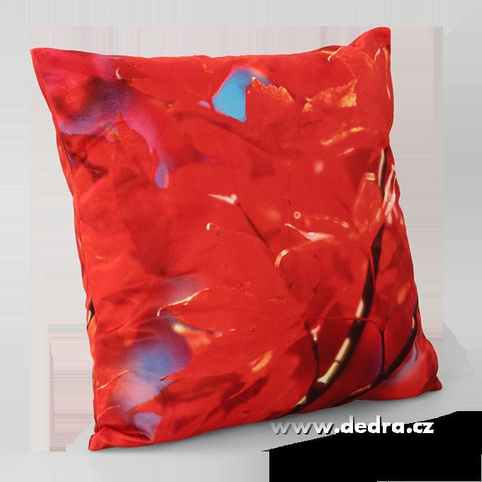 Potah na polštář sametový povrch červené listí
