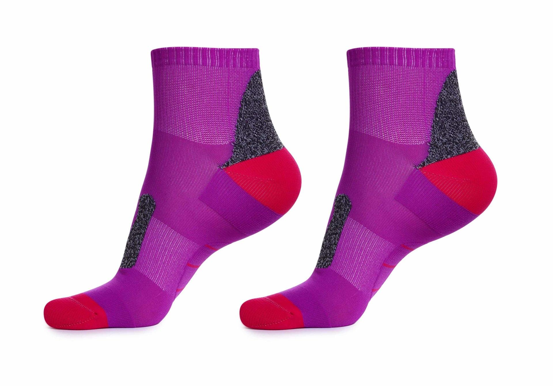 Sportovní funkční ponožky, pohodlné, fialovo-červeno-šedé