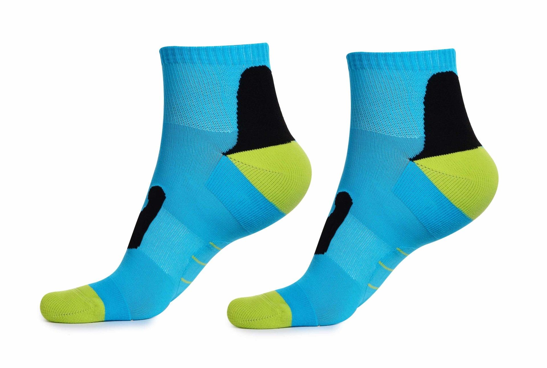 Sportovní funkční ponožky, pohodlné modro-zeleno-černé