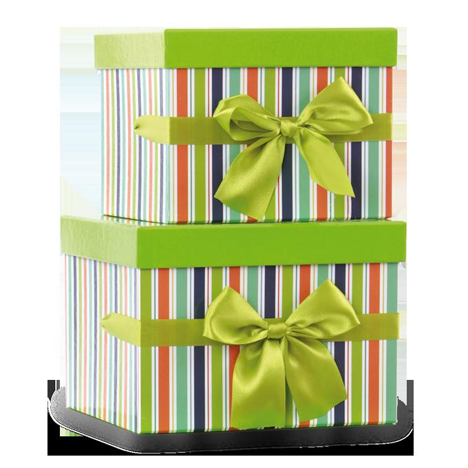 Sada 2 ks úložný box zelené,pruh.čtverec větší