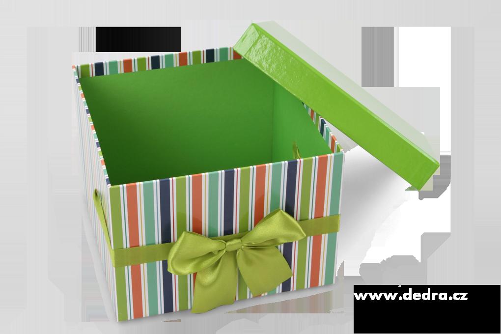 Sada 3 ks úložný box, zelené,pruh.čtverec