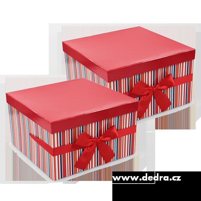 Sada 2 ks úložný box, červené,pruh.čtverec