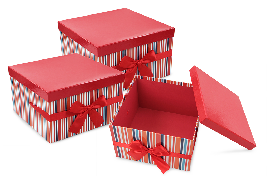 Sada 3 ks úložný box, červené,pruh.čtverec