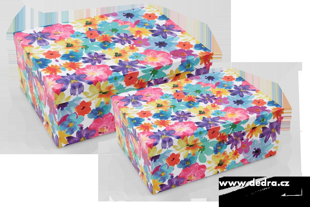 Sada 2 ks úložný box, květinové, obdélník