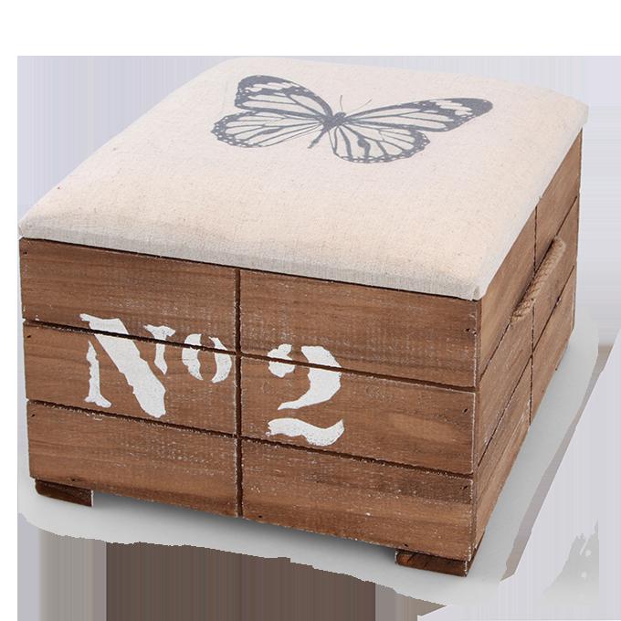 Dřevěný taburet, s polstrovaným víkem