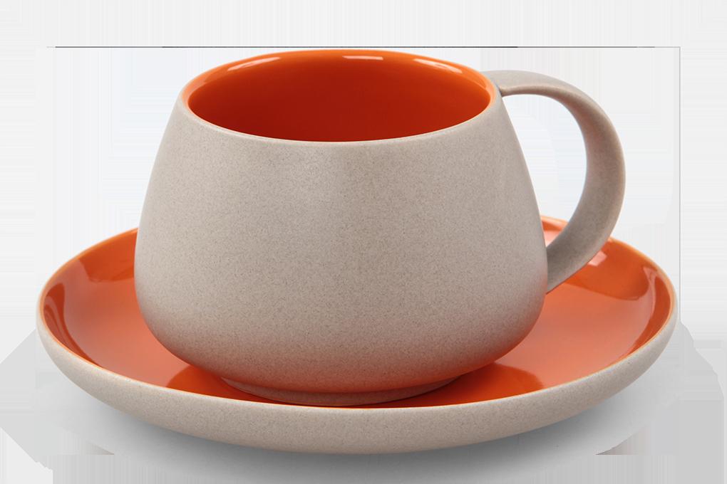 BALI CERAMICS šálek s podšálkem přírodní/oranžový