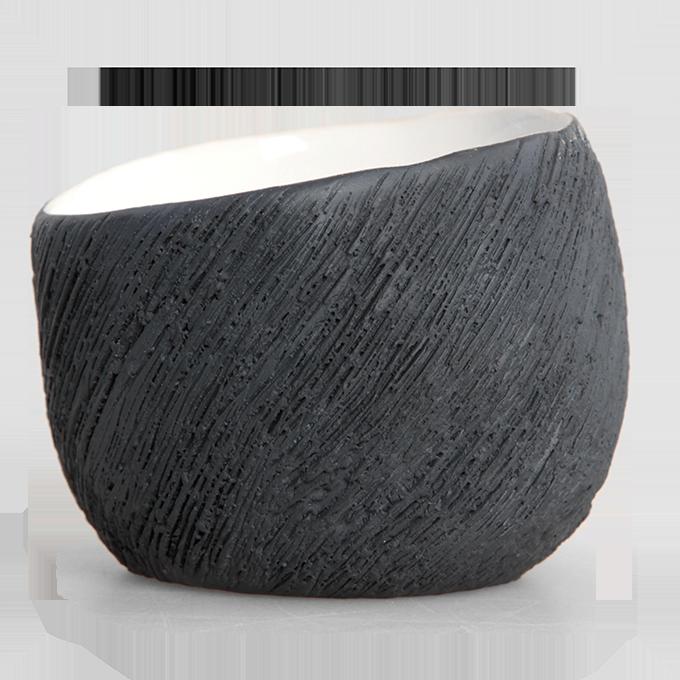 DA90701-Keramický svietnik antracitový na čajovú sviečku STONE