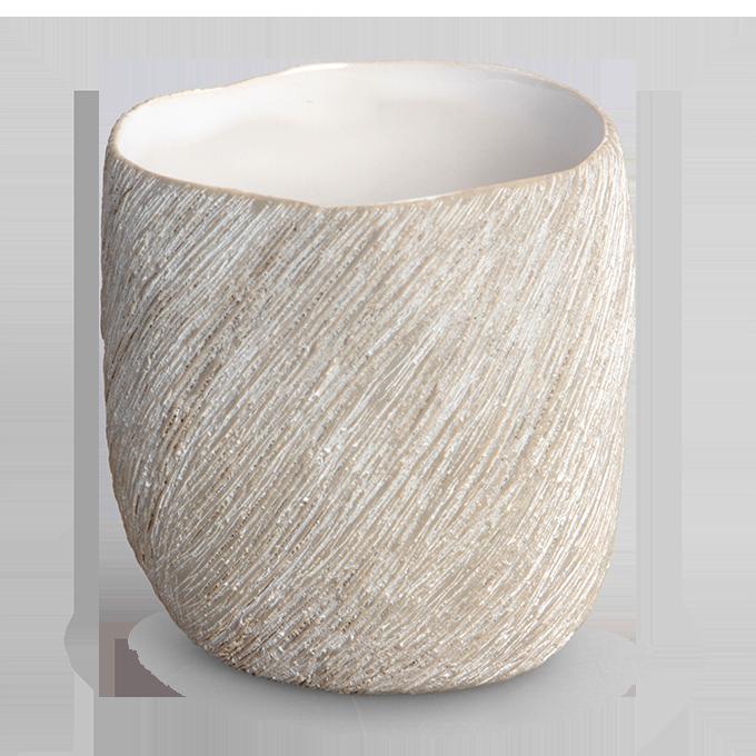 Keramický svícen přírodní na čajovou svíčku STONE