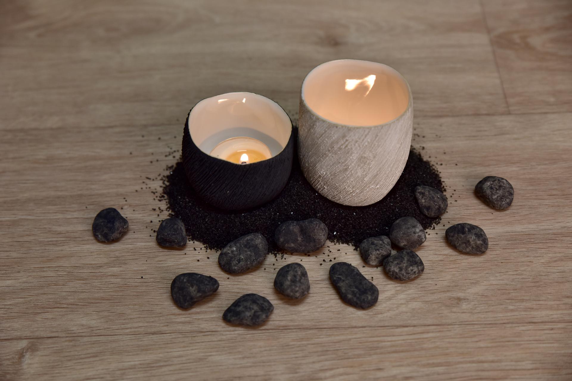 Keramický svícen přírodní, na čajovou svíčku