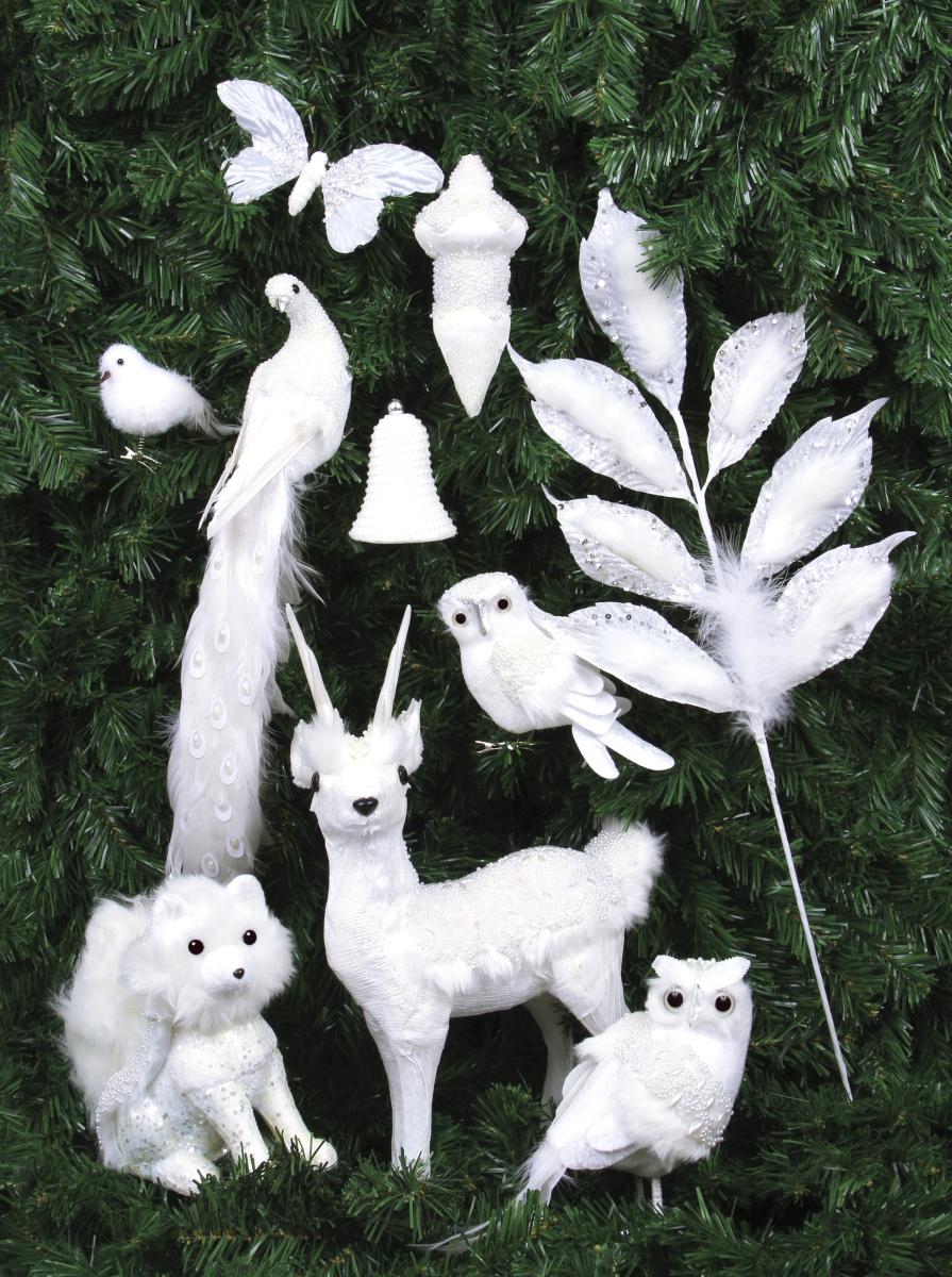 74 cm Bílá ratolest zdobená pírky a flitry