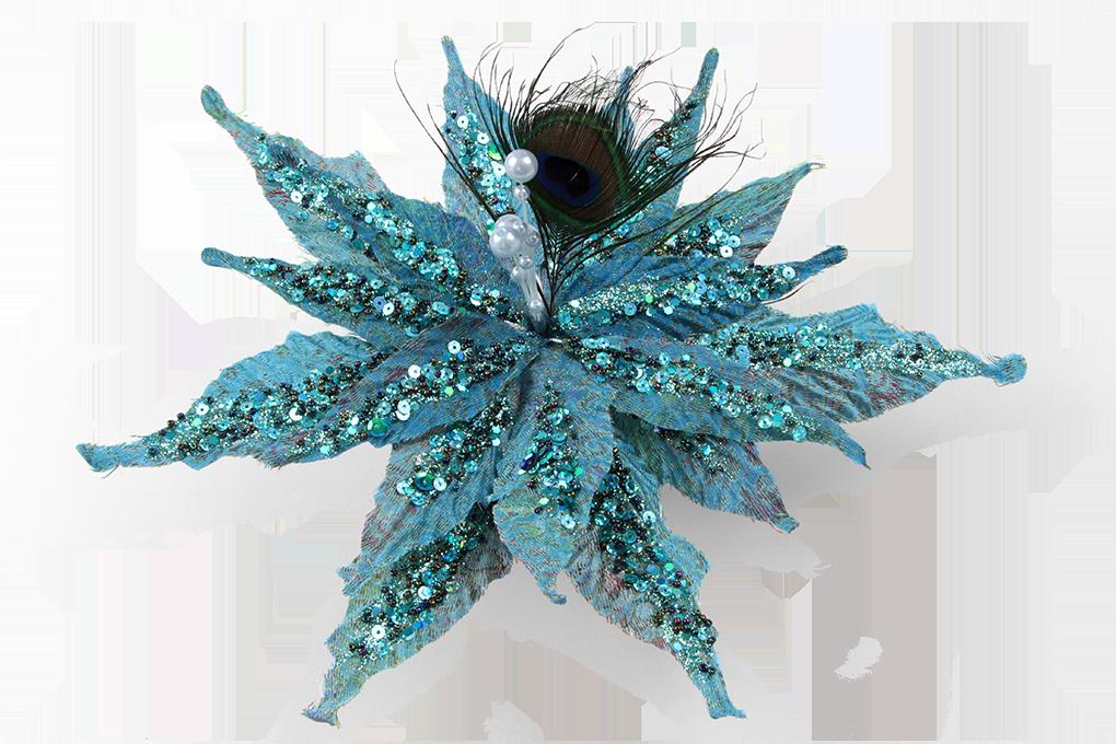Vánoční hvězda 30 cm, s pavím pírkem, zdobená pajetkami, spona na přichycení