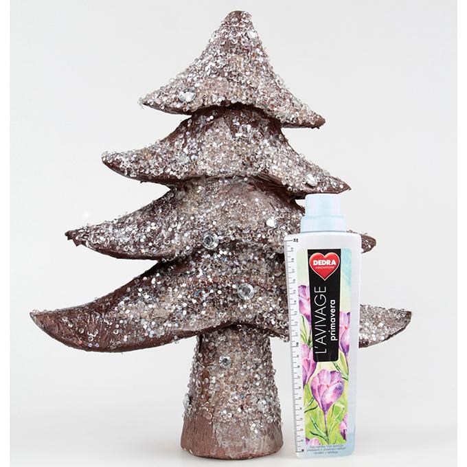 DA90815-43 cm Dekoratívna stromček zdobený flitrami a kamienkami