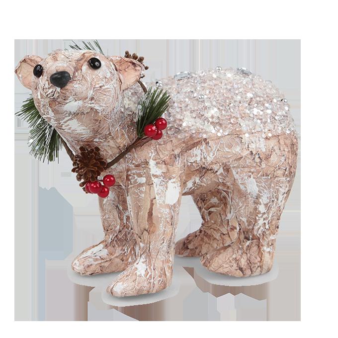 Dekorativní medvěd 25 cm zdobený flitry a kamínky