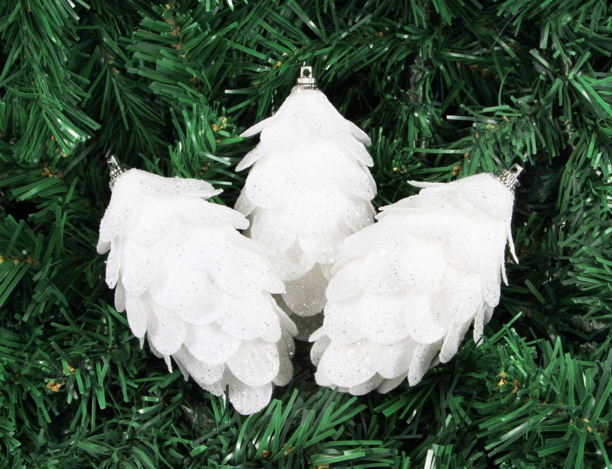 3 ks šišky, 13 cm, sněhově bílé se třpytkami
