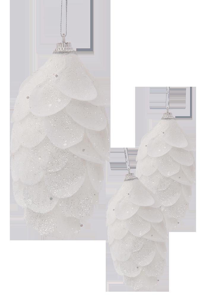 3 ks XL šišek sněhově bílé