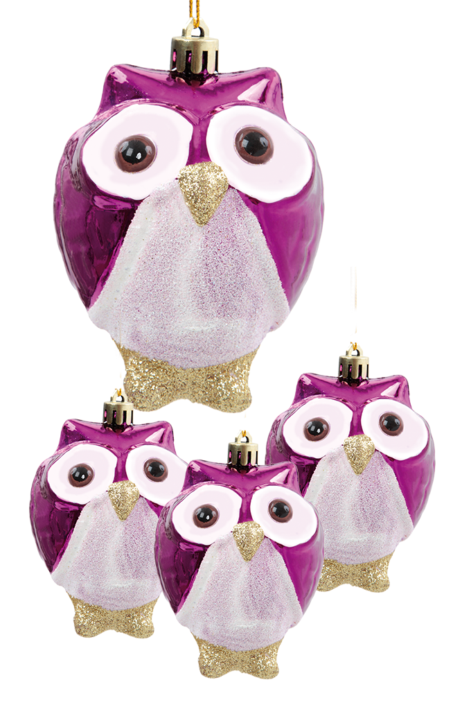 4 ks ozdob sovička s metalickým finišem fialové