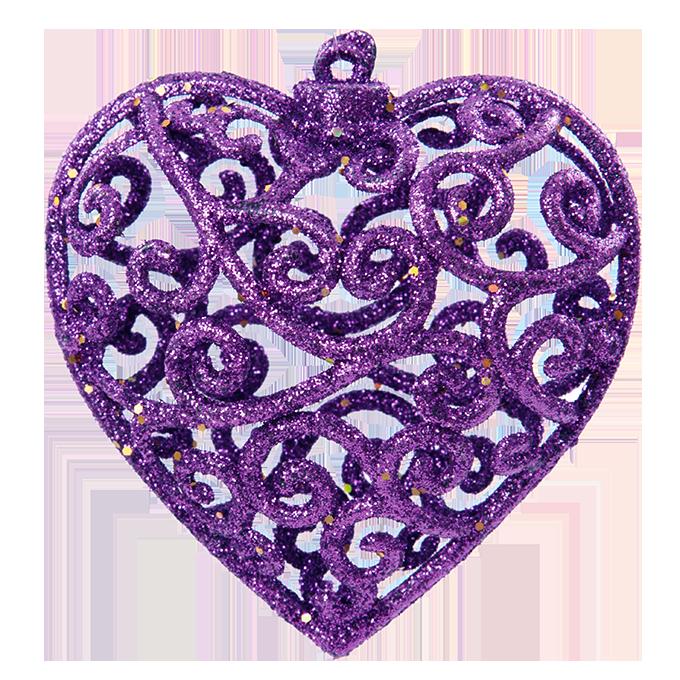 3 ks krajkových srdíček tmavě fialové