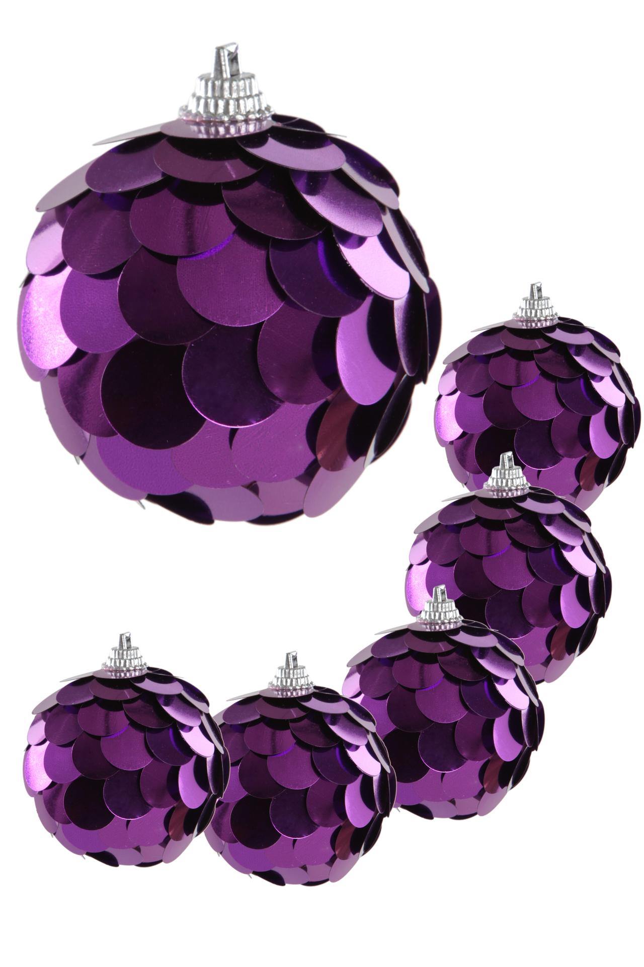 6 ks kouliček s flitry, fialové