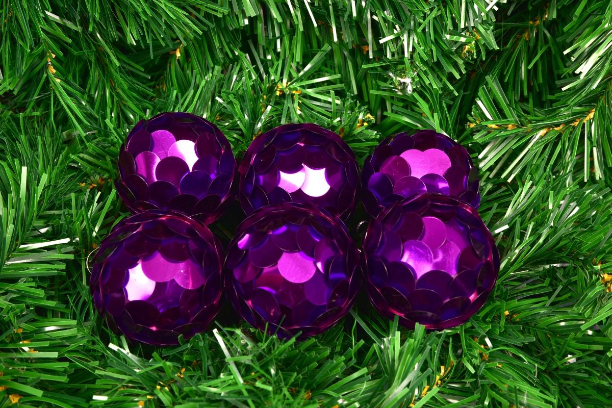 6 ks kouliček s flitry fialové