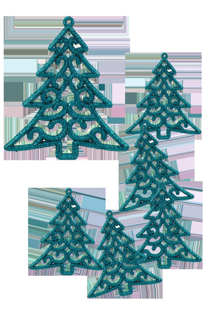 6 ks krajkových stromků tyrkysové