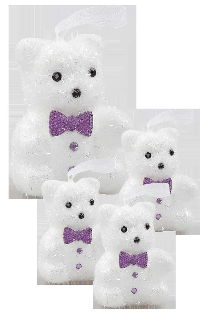 4 ks bílých medvídků s fialovým motýlkem