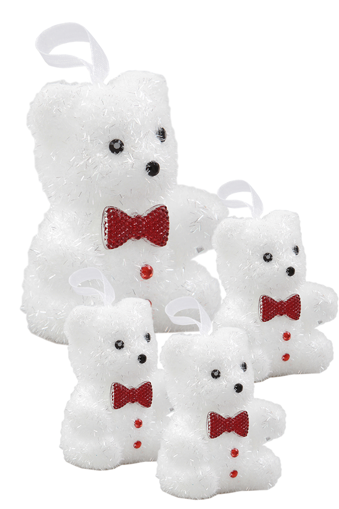 4 ks bílých medvídků, s vínovým motýlkem