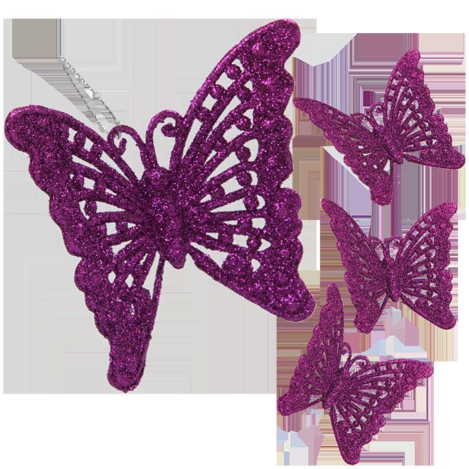 4 ks krajkových motýlků, tmavě fialový