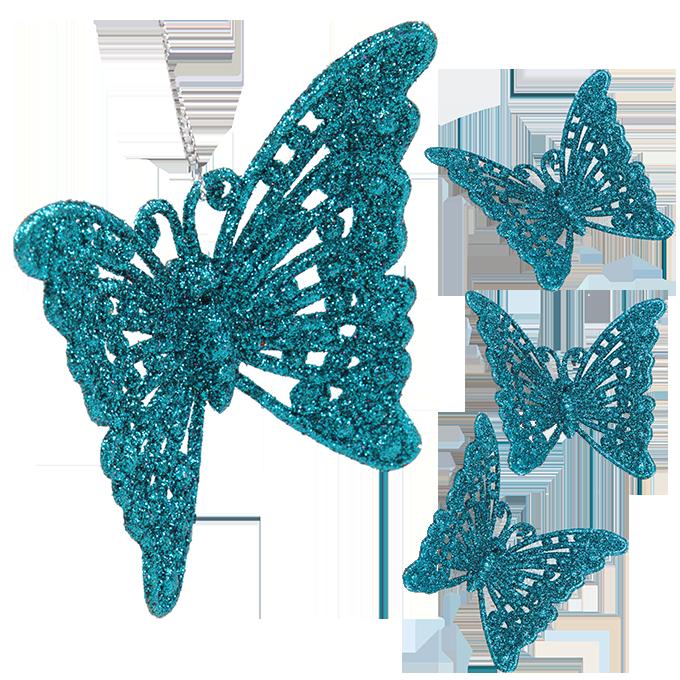 4 ks krajkových motýlků, tyrkysový