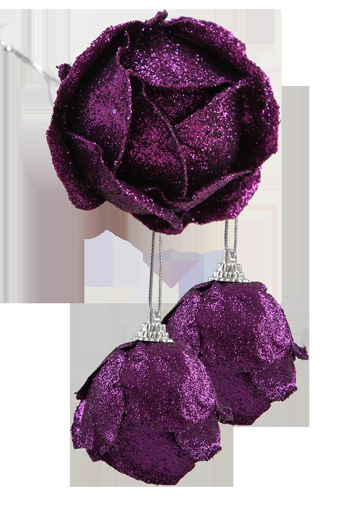 3 ks ozdob poupě růže, fialové