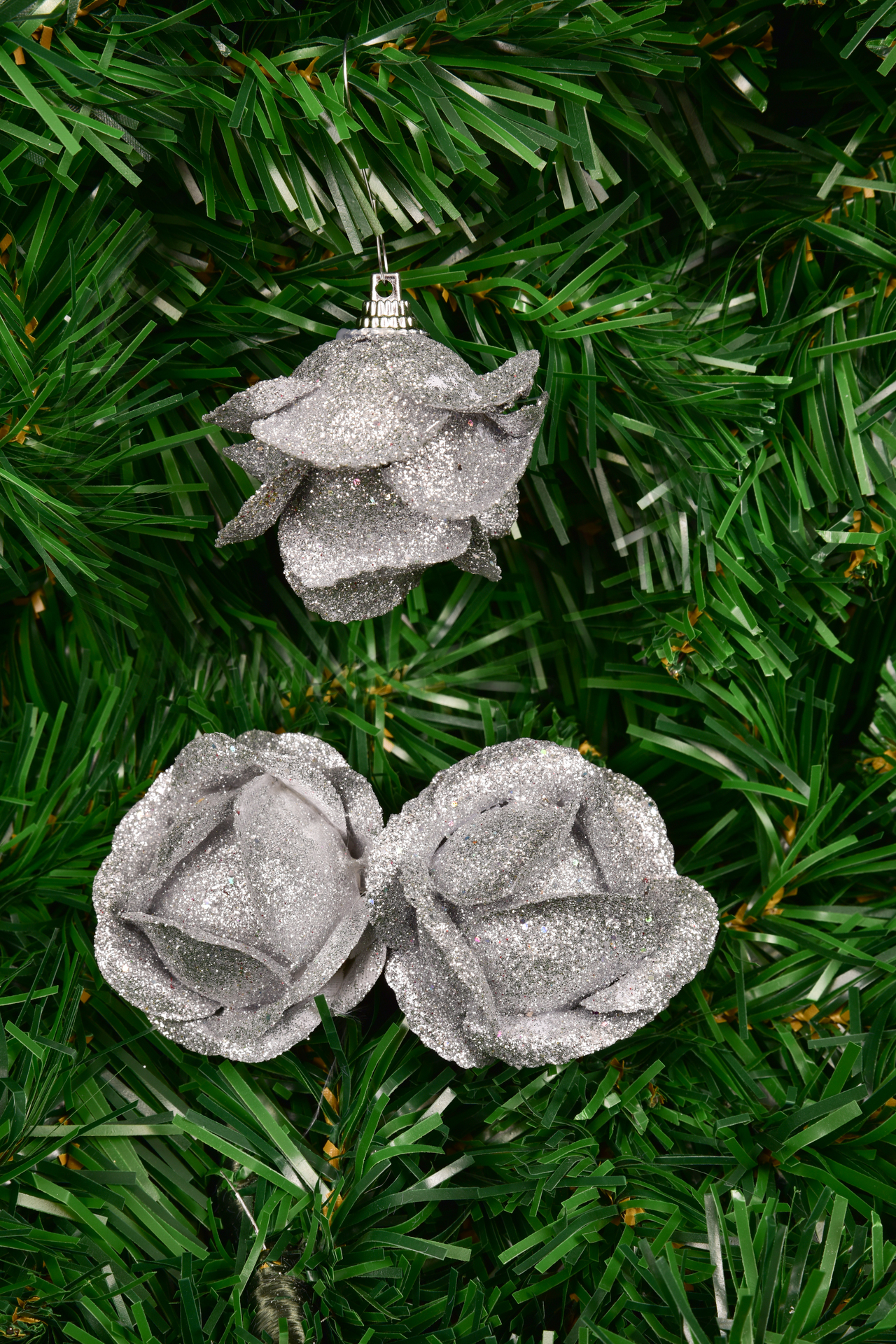 3 ks ozdob poupě růže, stříbrná