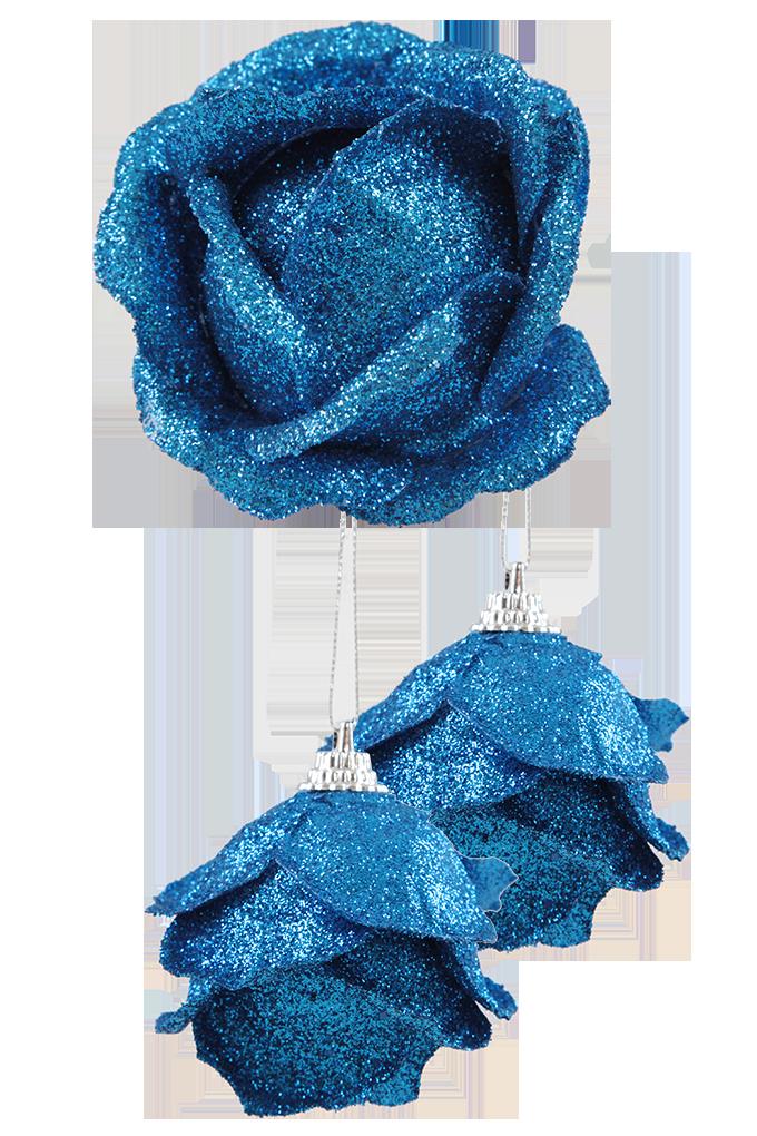 3 ks ozdob poupě růže, modré