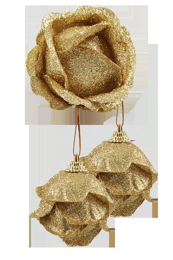 3 ks ozdob poupě růže, zlaté
