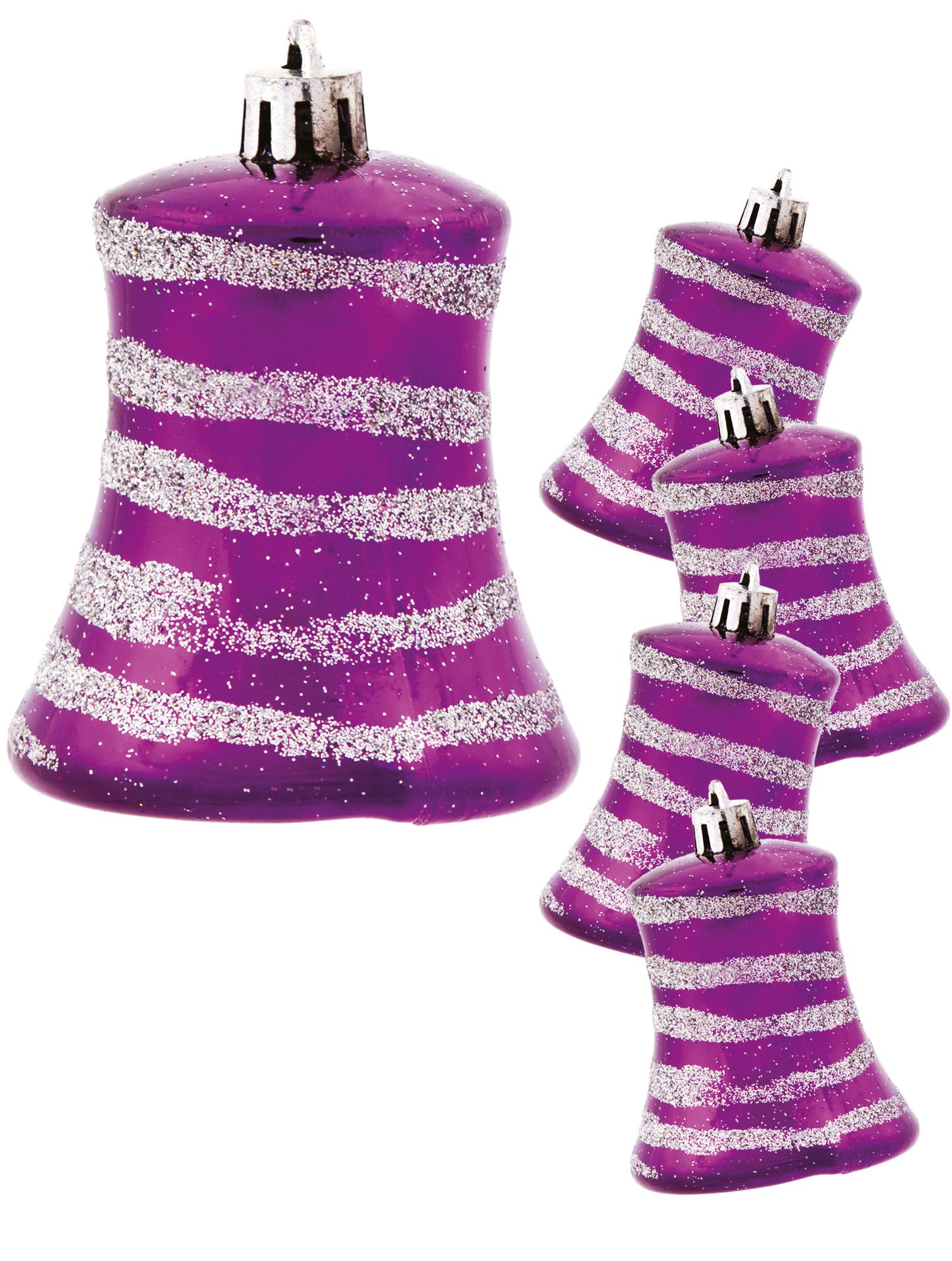 5 ks ozdob zvoneček, fialové se spirálou