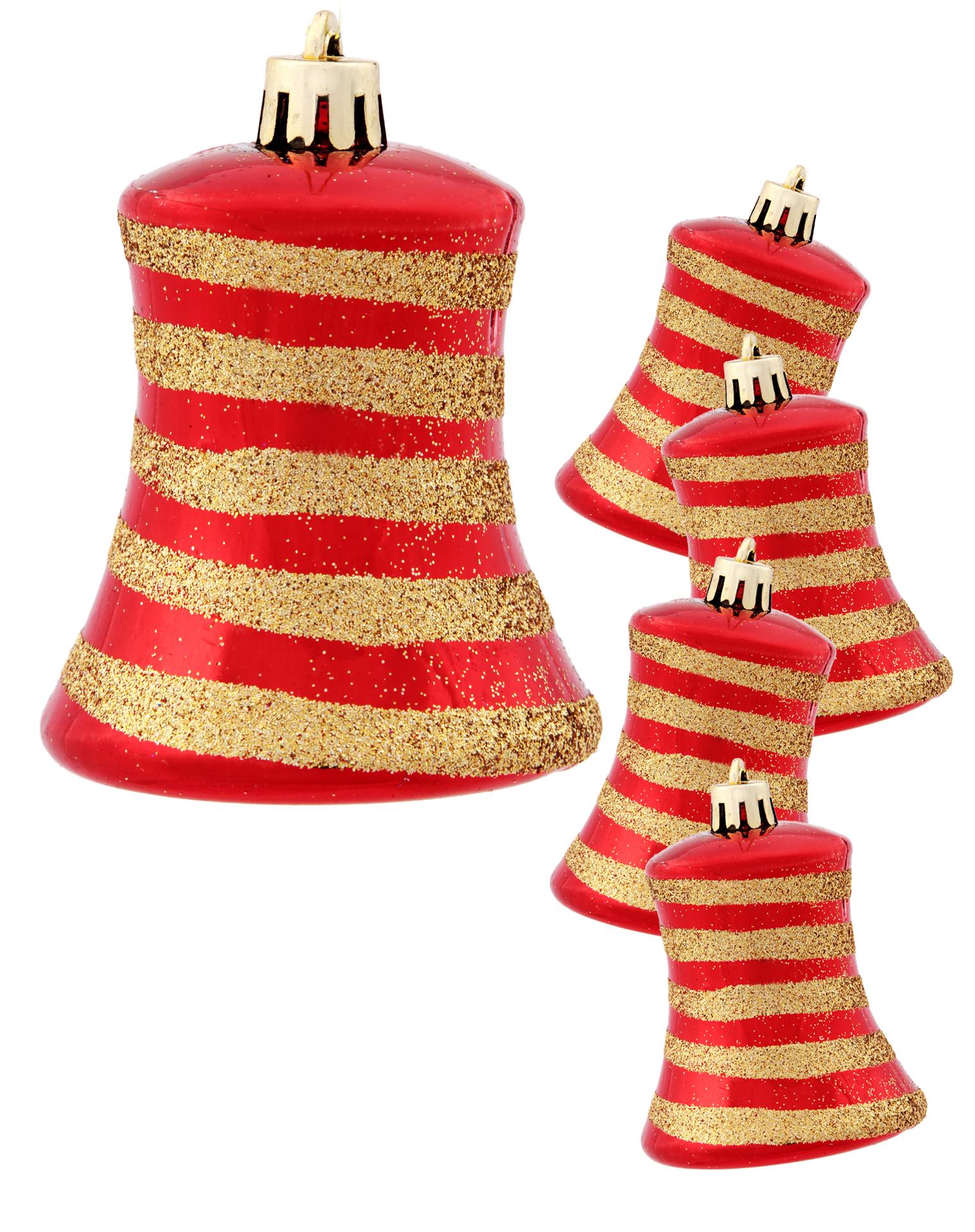 5 ks ozdob zvoneček, červené se spirálou